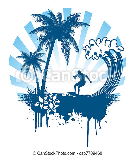 Palm and surfing on waves in grunge - csp7709460