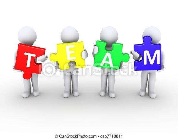 Clipart of Men holding team puzzle pieces - Four 3d persons ...