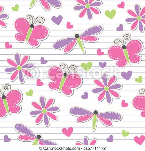cute romantic seamless pattern - csp7711172