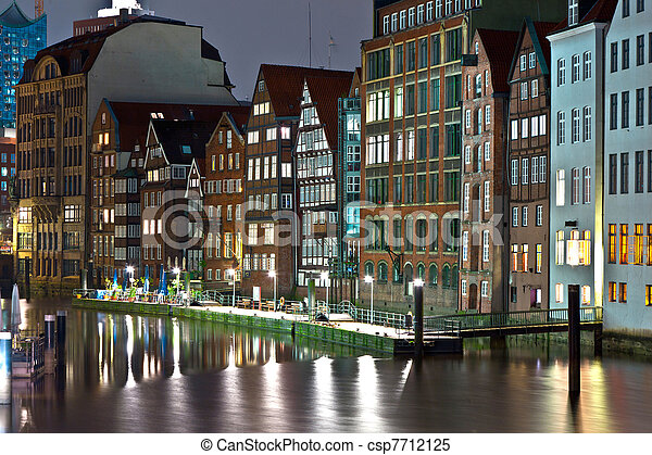 old townhouses at the canal in Hamburg by night - csp7712125