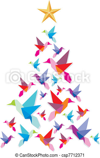 Origami hummingbirds Christmas tree. - csp7712371