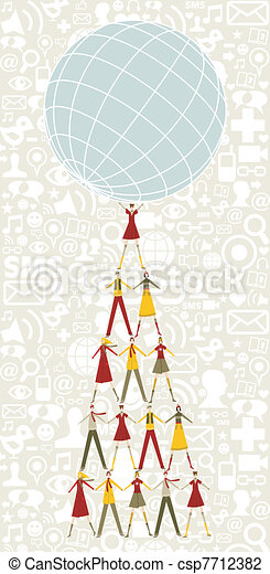 Social media Christmas tree of people holding the world - csp7712382