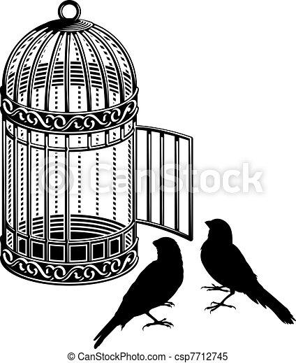 clipart vector of bird cage metallic bird cage with open
