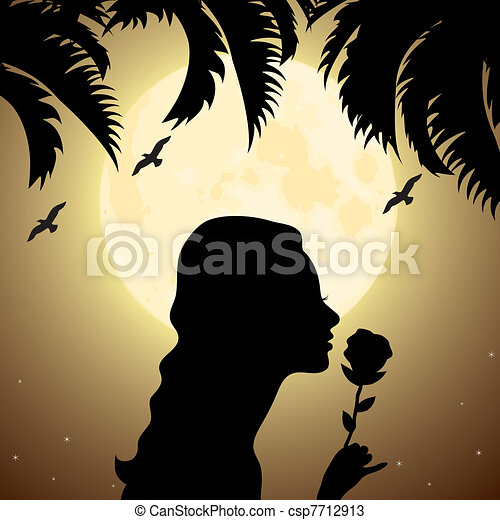 silhouette of a girl with a flower under palm tree - csp7712913
