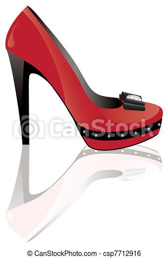 red high heel shoe - csp7712916