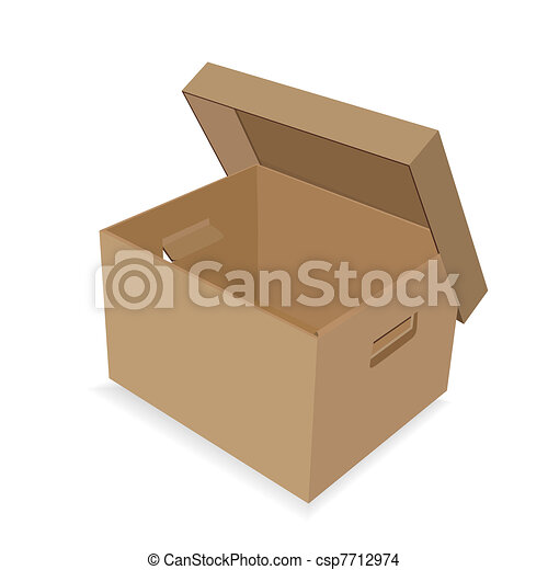 EPS Vector of Paper box with a lid - The opened paper box on a ...