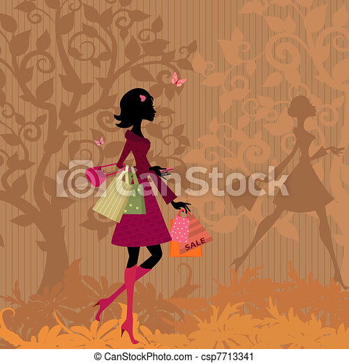 girl with shopping in the park in autumn - csp7713341