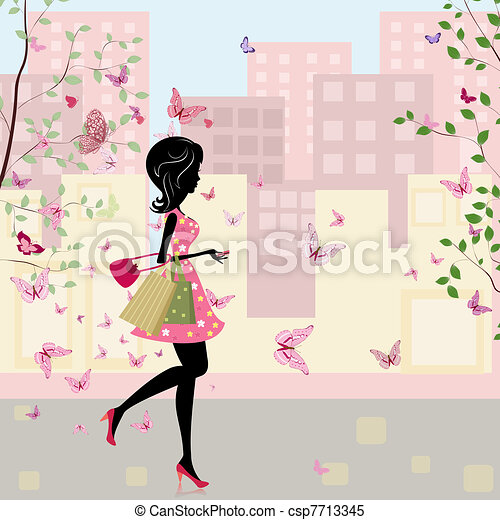 girl with shopping in the spring - csp7713345