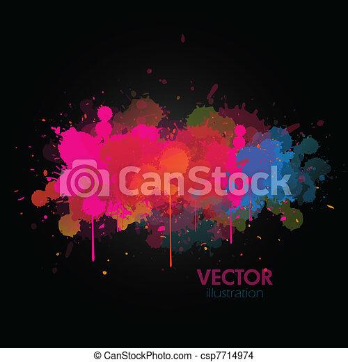 Colorful paint splats background - csp7714974