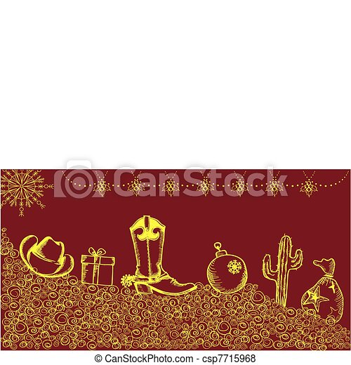 Cowboy christmas card with holiday elements and decoration for d - csp7715968