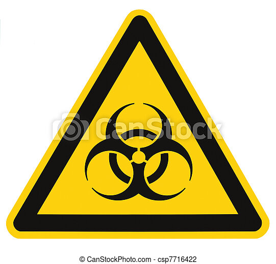 Biohazard symbol sign of biological threat alert isolated black yellow triangle signage macro - csp7716422