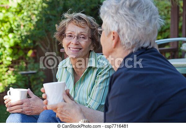 Senior Women with Warm Drinks - csp7716481