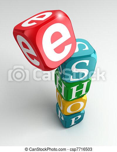 eshop sign 3d colorful buzzword - csp7716503