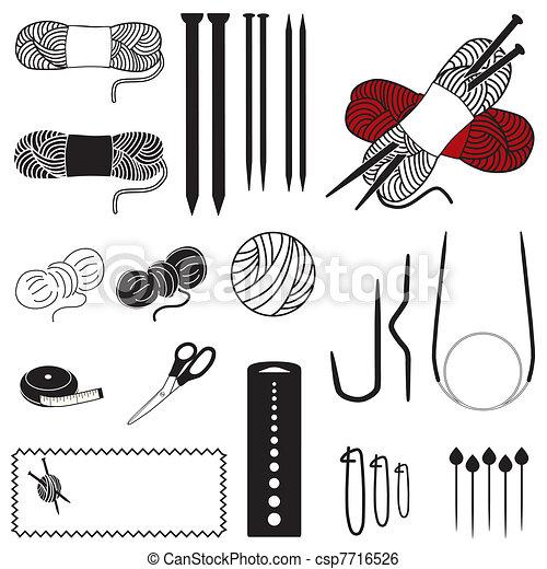Knitting Icons - csp7716526