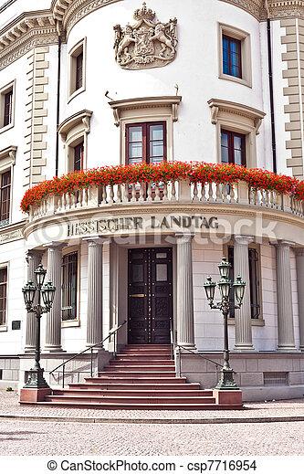 house of politics, the Hessischer Landtag in Wiesbaden  - csp7716954