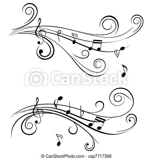 ornamental, noteringen, musik - csp7717368
