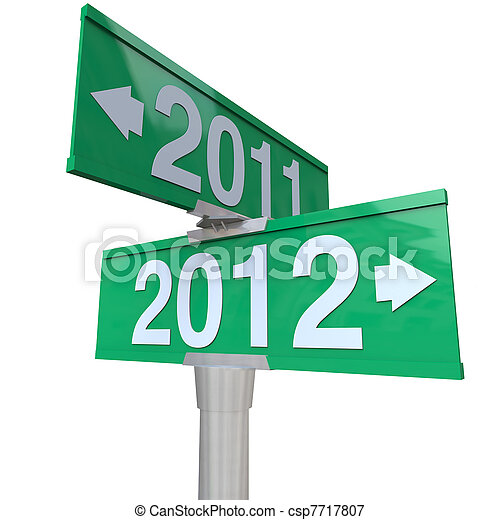 A green two-way street sign pointing to the years 2011 and 2012 with arrows leading to the past or the future, perfect for a symbol of the new year and the changing of times - csp7717807