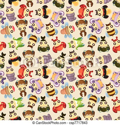 cartoon insect bug seamless pattern - csp7717843