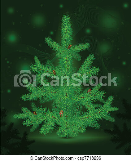 Christmas fur-tree on green - csp7718236