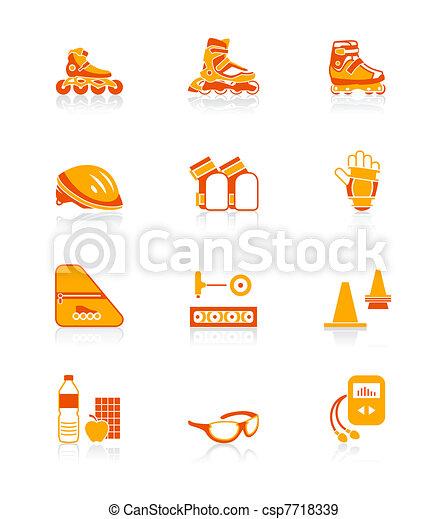 Inline skating icons | JUICY series - csp7718339