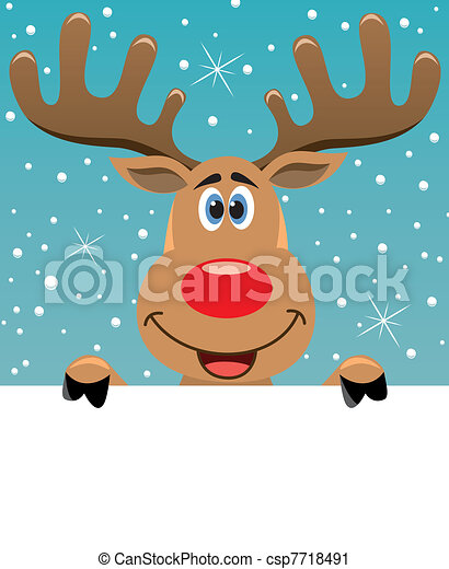 rudolph deer holding blank paper - csp7718491