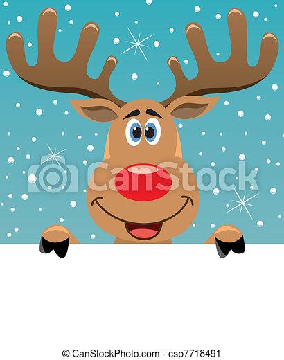 rudolph deer holding blank paper  - csp7718491