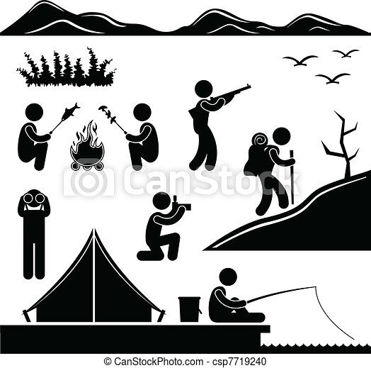 Vector - Jungle Trekking Hiking Camping Camp - stock illustration ...