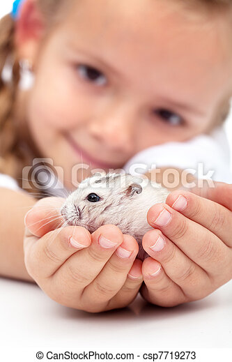 Meet my little pal - girl and her hamster - csp7719273