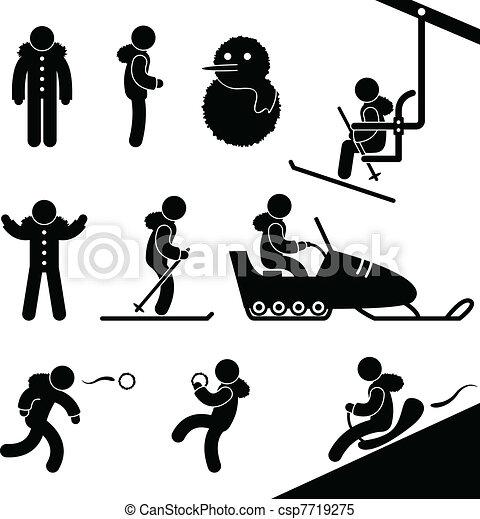Winter Activity Chairlift Skiing - csp7719275