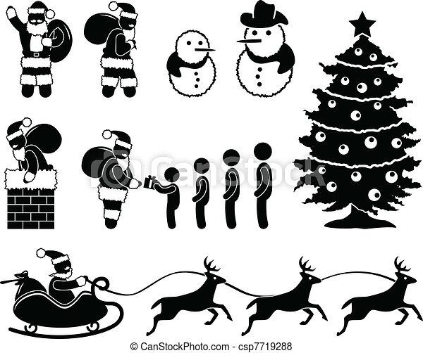 Christmas Santa Claus Reindeer - csp7719288