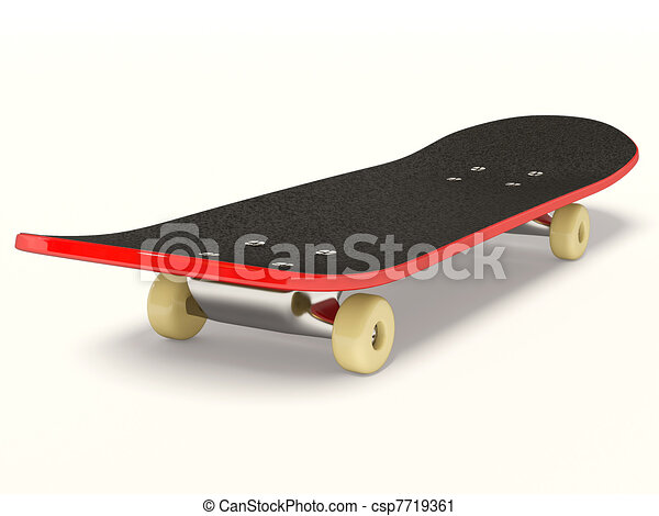 Clipart of skateboard - red skateboard on isolated background ...