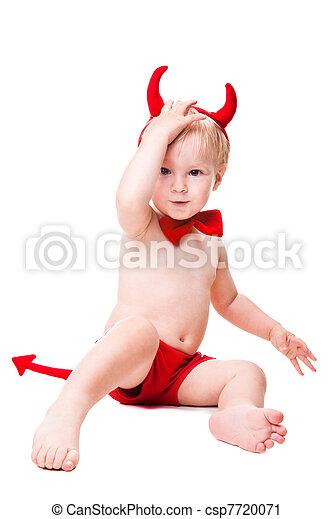 kid in red suit of tempting devil - csp7720071