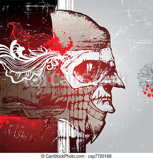 Vector illustration - facial profile of dark knight - csp7720168