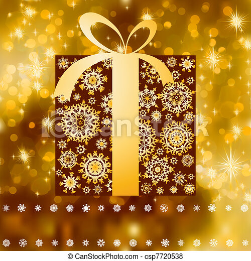 Christmas gift box with copy space card. EPS 8 - csp7720538
