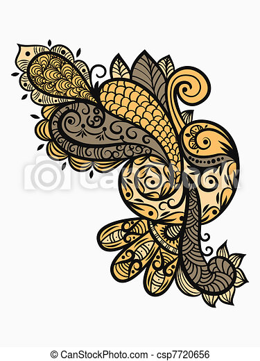 vector paisley design element in warm colors - csp7720656