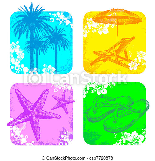 Tropical vector frame with hand drawn elements - csp7720878