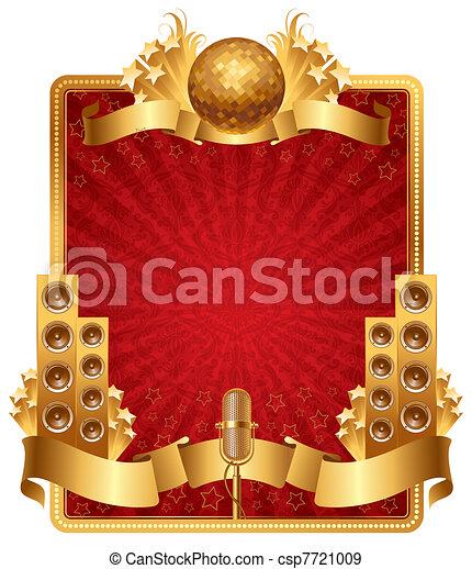 Vector ornate frame with golden musical objects - csp7721009