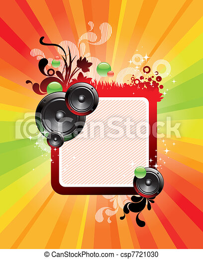 Abstract vector frame with loudspeakers & ornate floral decor - csp7721030