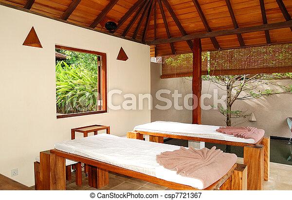 SPA massage beds at  luxury hotel, Bentota, Sri Lanka - csp7721367