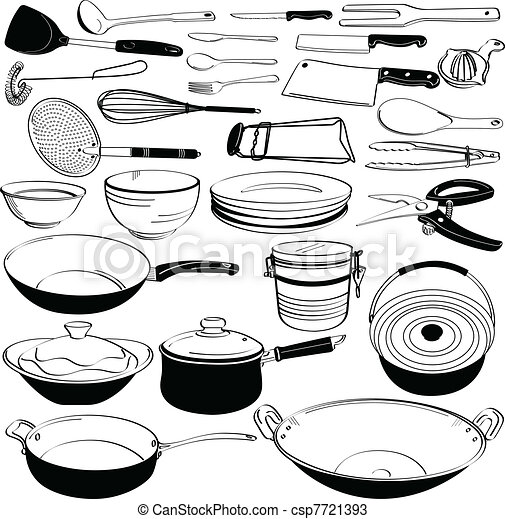 Vectors of kitchen tool utensil equipment a set of for Art et cuisine chaudron line