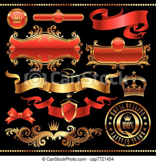 Vector set - Golden royal design element - csp7721454