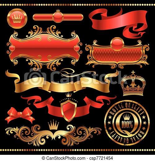 Vector set - Golden royal design element - csp7721454
