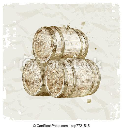 Grunge hand drawn wooden barrels on vintage paper background - vector ilustration - csp7721515
