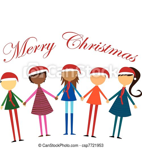 Clipart Vector of Multi-ethnic group Christmas - caravan of people ...