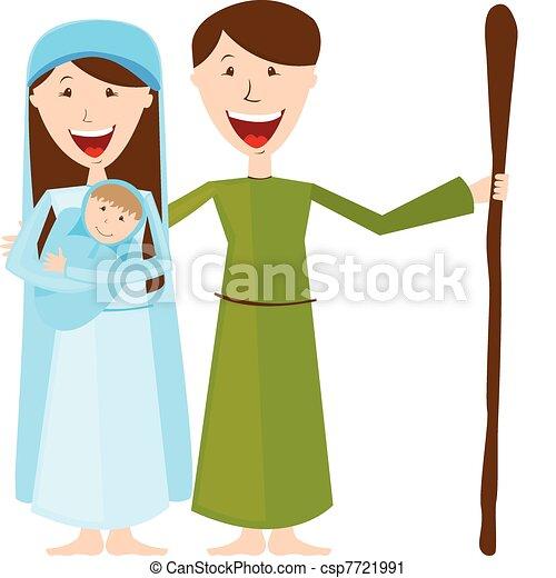 Virgin Mary, St. Joseph and baby Jesus - csp7721991