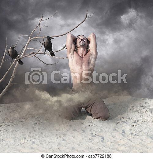 Lonely, Heartbroken Young Man in Despair - csp7722188