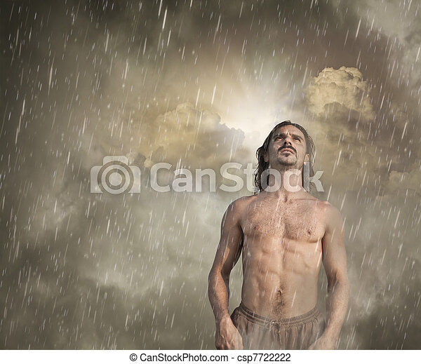Man Feeling Lost in the Rain  - csp7722222
