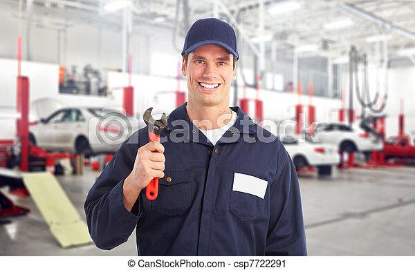 auto mechanic in auto repair shop - csp7722291