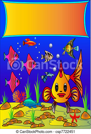undersea background with fish, algae and stone  - csp7722451