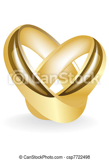 gold wedding ring insulated on white  - csp7722498
